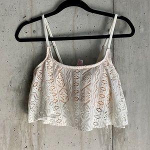 Cream White Lace Bikini Top